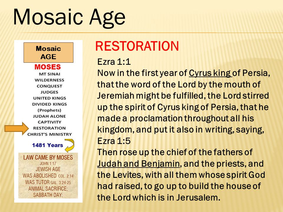 Mosaic Age RESTORATION Ezra 1:1 Now in the first year of Cyrus king of Persia, that the word of the Lord by the mouth of Jeremiah might be fulfilled, the Lord stirred up the spirit of Cyrus king of Persia, that he made a proclamation throughout all his kingdom, and put it also in writing, saying, Ezra 1:5 Then rose up the chief of the fathers of Judah and Benjamin, and the priests, and the Levites, with all them whose spirit God had raised, to go up to build the house of the Lord which is in Jerusalem.