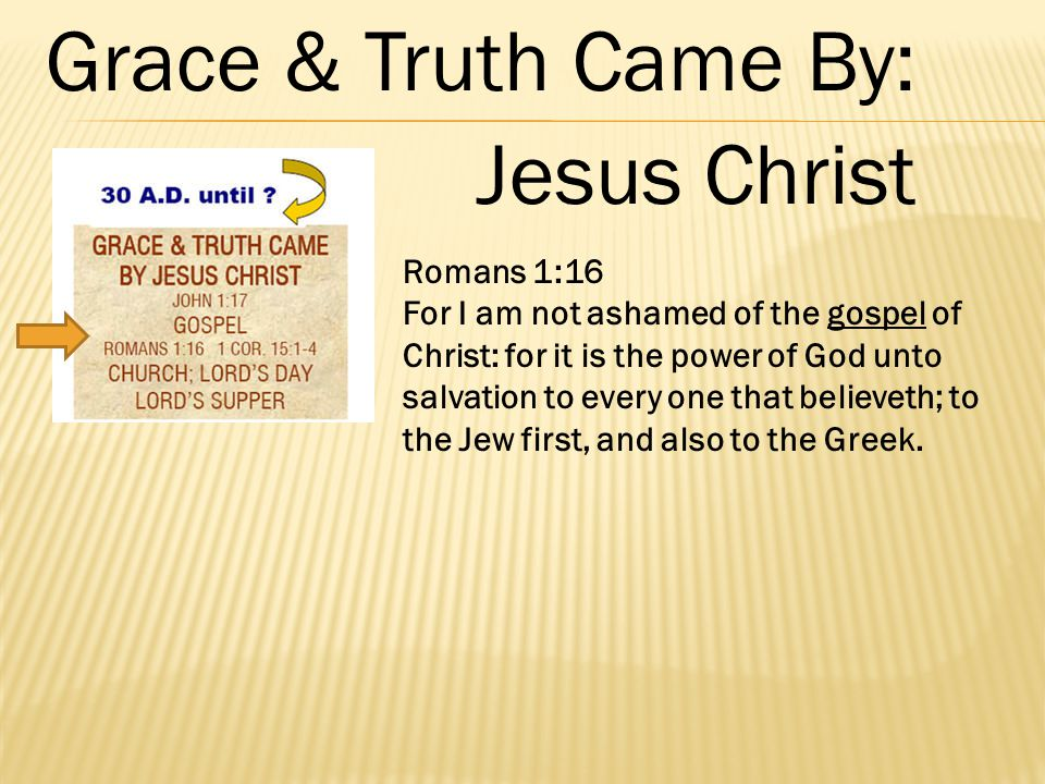 Romans 1:16 For I am not ashamed of the gospel of Christ: for it is the power of God unto salvation to every one that believeth; to the Jew first, and