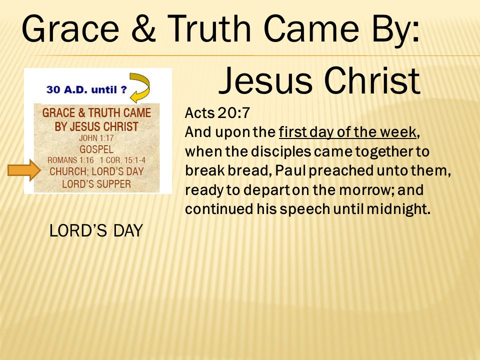 Acts 20:7 And upon the first day of the week, when the disciples came together to break bread, Paul preached unto them, ready to depart on the morrow;