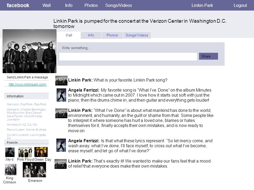 facebook Linkin Park is pumped for the concert at the Verizon Center in Washington D.C. tomorrow WallInfoPhotosSongs/VideosLinkin ParkLogout View phot