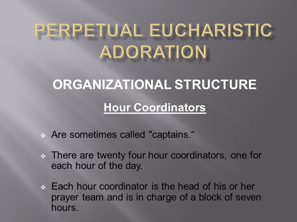 ORGANIZATIONAL STRUCTURE Hour Coordinators  Are sometimes called captains.  There are twenty four hour coordinators, one for each hour of the day.