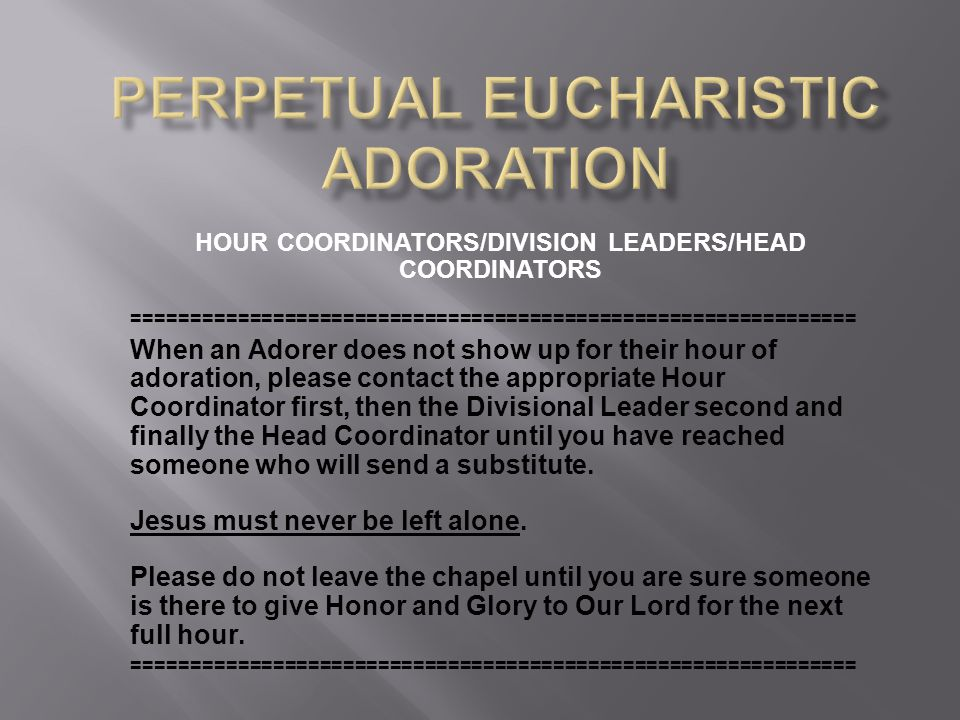 HOUR COORDINATORS/DIVISION LEADERS/HEAD COORDINATORS ============================================================== When an Adorer does not show up for their hour of adoration, please contact the appropriate Hour Coordinator first, then the Divisional Leader second and finally the Head Coordinator until you have reached someone who will send a substitute.