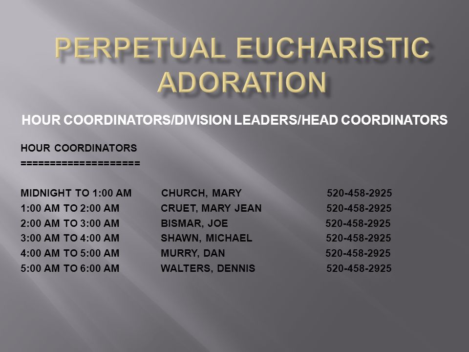 HOUR COORDINATORS/DIVISION LEADERS/HEAD COORDINATORS HOUR COORDINATORS ==================== MIDNIGHT TO 1:00 AM CHURCH, MARY 520-458-2925 1:00 AM TO 2:00 AM CRUET, MARY JEAN 520-458-2925 2:00 AM TO 3:00 AM BISMAR, JOE 520-458-2925 3:00 AM TO 4:00 AM SHAWN, MICHAEL 520-458-2925 4:00 AM TO 5:00 AM MURRY, DAN 520-458-2925 5:00 AM TO 6:00 AM WALTERS, DENNIS 520-458-2925