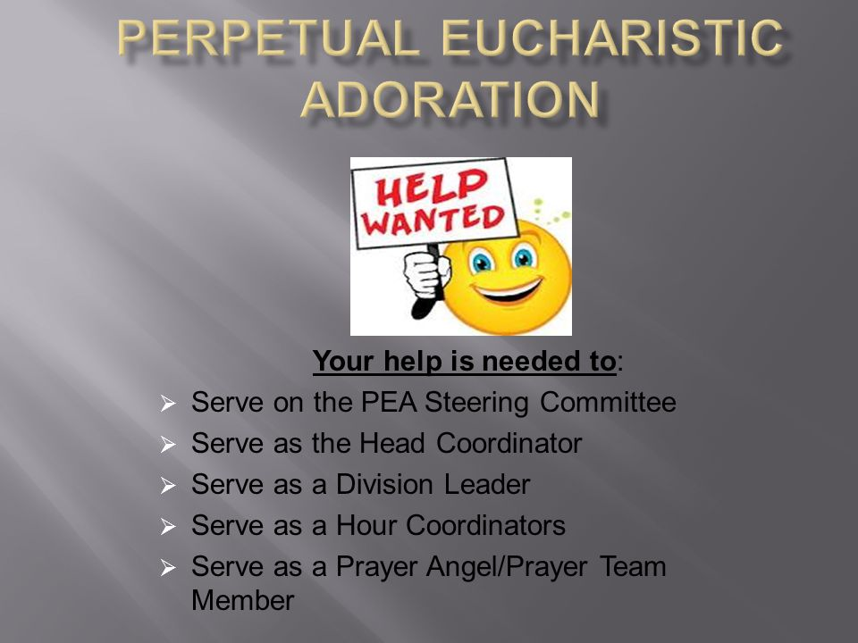 Your help is needed to:  Serve on the PEA Steering Committee  Serve as the Head Coordinator  Serve as a Division Leader  Serve as a Hour Coordinators  Serve as a Prayer Angel/Prayer Team Member
