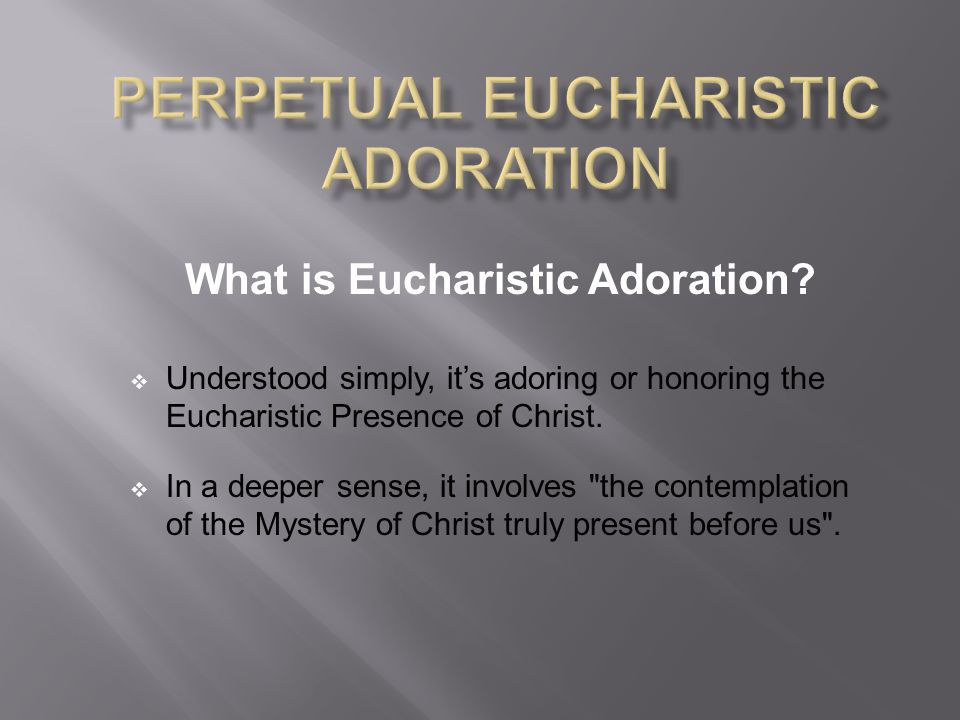 What is Eucharistic Adoration.