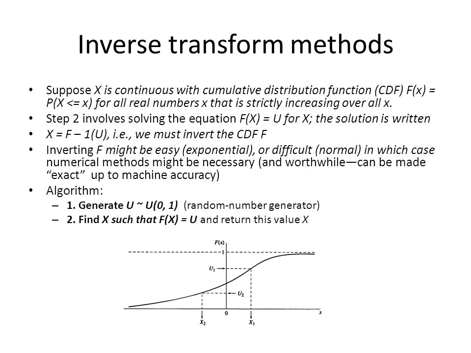 Inverse transform methods Suppose X is continuous with cumulative distribution function (CDF) F(x) = P(X <= x) for all real numbers x that is strictly increasing over all x.