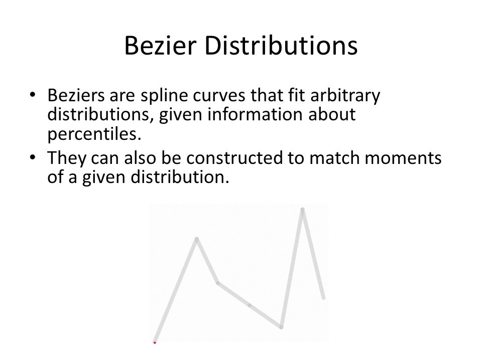 Bezier Distributions Beziers are spline curves that fit arbitrary distributions, given information about percentiles.