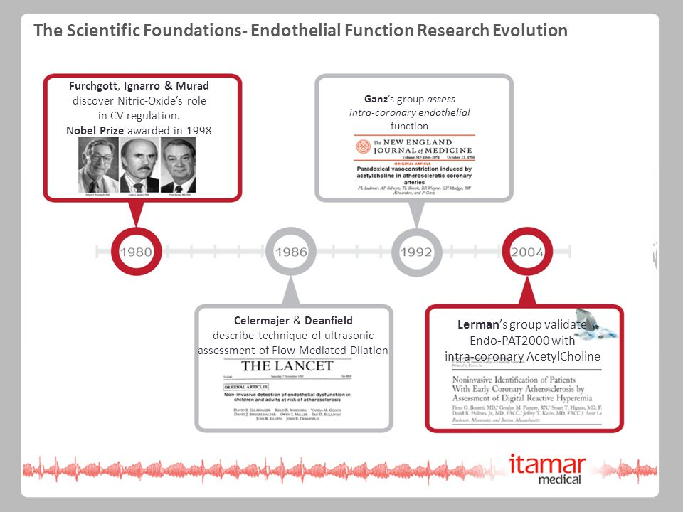 The Scientific Foundations- Endothelial Function Research Evolution Development of Arterial Function Study Furchgott, Ignarro & Murad discover Nitric-Oxide's role in CV regulation.