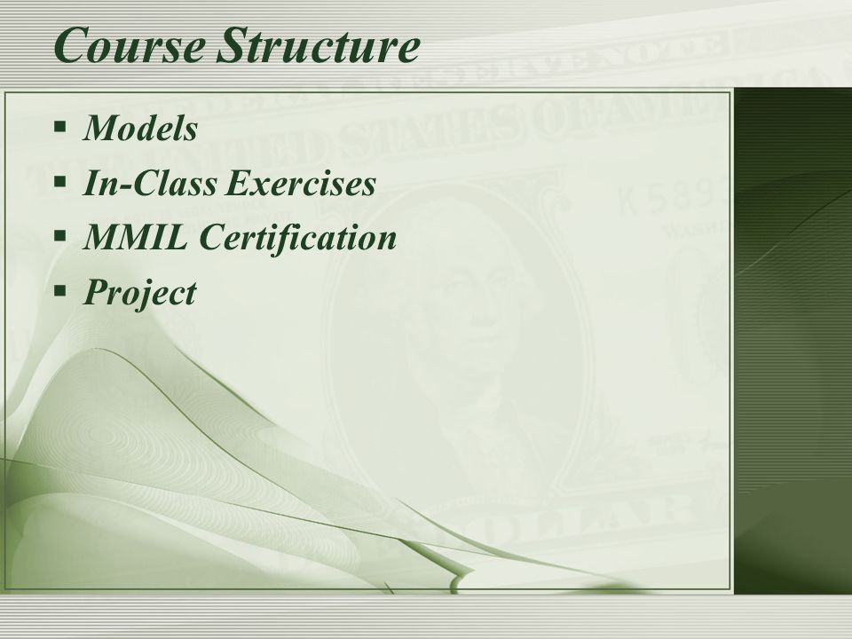  Models  In-Class Exercises  MMIL Certification  Project