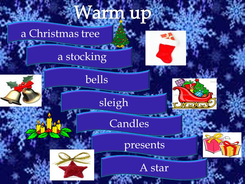 a Christmas tree a stocking bells sleigh Candles presents A star