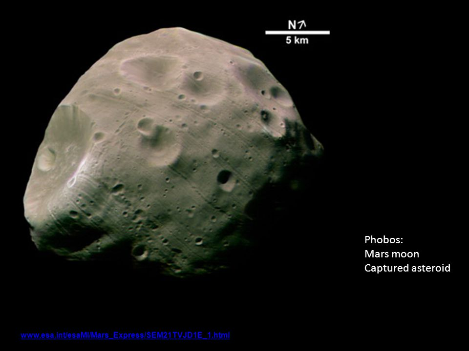 Phobos www.esa.int/esaMI/Mars_Express/SEM21TVJD1E_1.html Phobos: Mars moon Captured asteroid