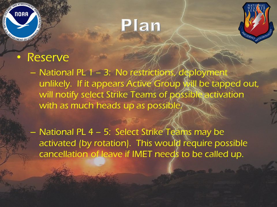 Reserve – National PL 1 – 3: No restrictions, deployment unlikely.