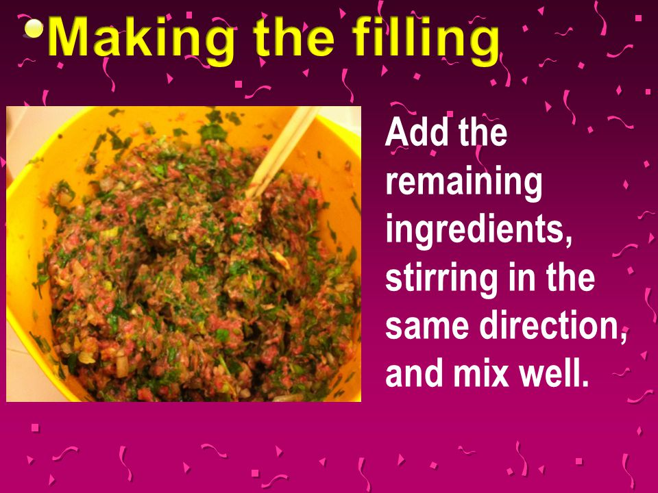 Add the remaining ingredients, stirring in the same direction, and mix well.