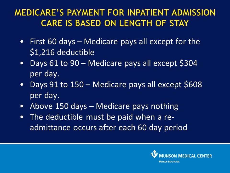 First 60 days – Medicare pays all except for the $1,216 deductible Days 61 to 90 – Medicare pays all except $304 per day. Days 91 to 150 – Medicare pa