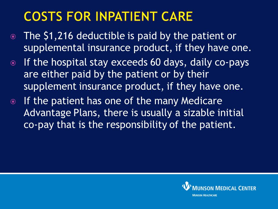  The $1,216 deductible is paid by the patient or supplemental insurance product, if they have one.  If the hospital stay exceeds 60 days, daily co-p