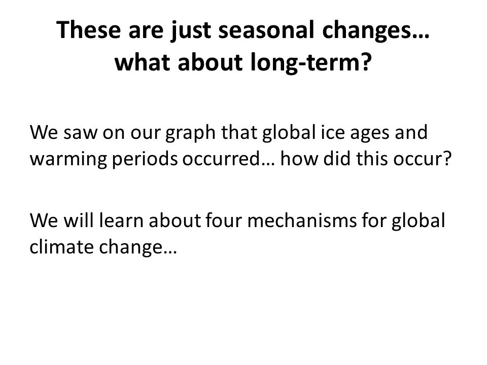 These are just seasonal changes… what about long-term? We saw on our graph that global ice ages and warming periods occurred… how did this occur? We w