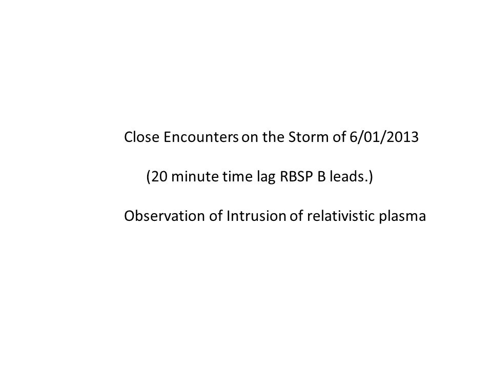 Close Encounters on the Storm of 6/01/2013 (20 minute time lag RBSP B leads.) Observation of Intrusion of relativistic plasma
