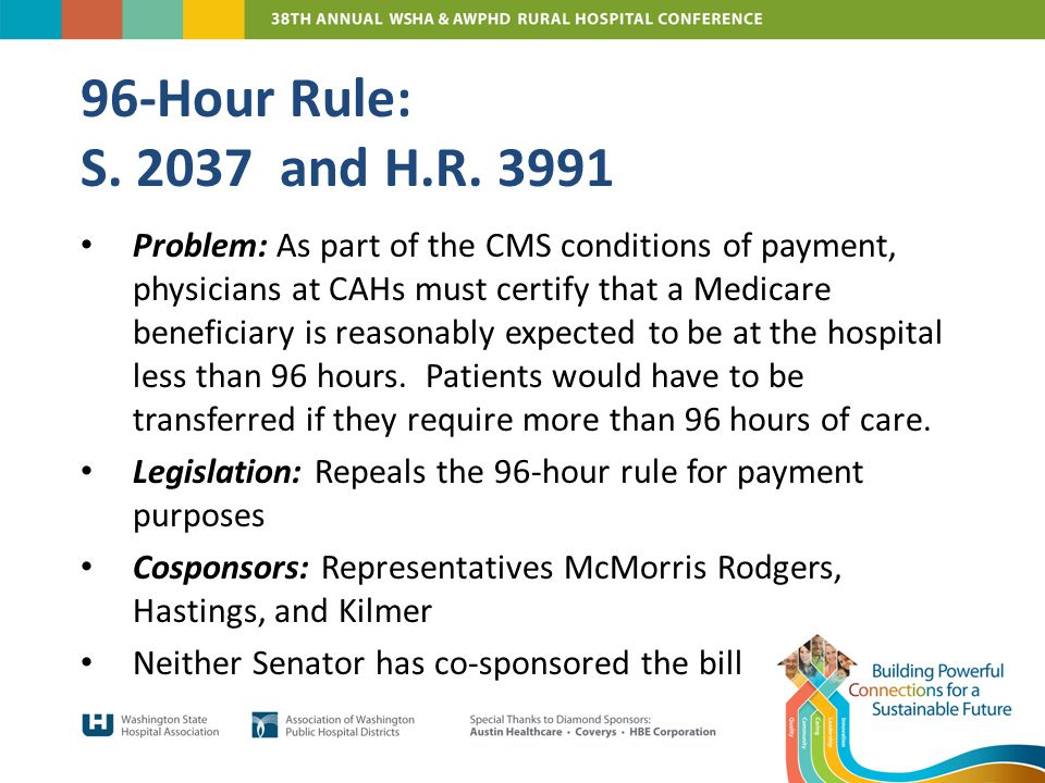 Problem: As part of the CMS conditions of payment, physicians at CAHs must certify that a Medicare beneficiary is reasonably expected to be at the hospital less than 96 hours.