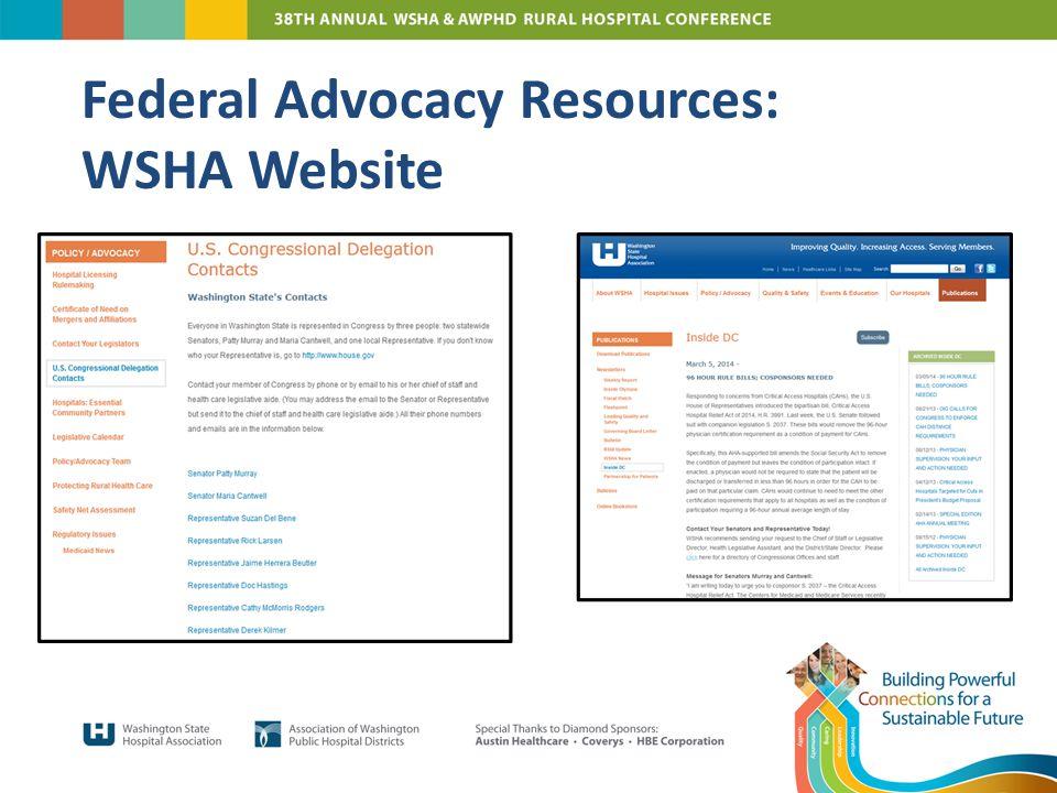 Federal Advocacy Resources: WSHA Website