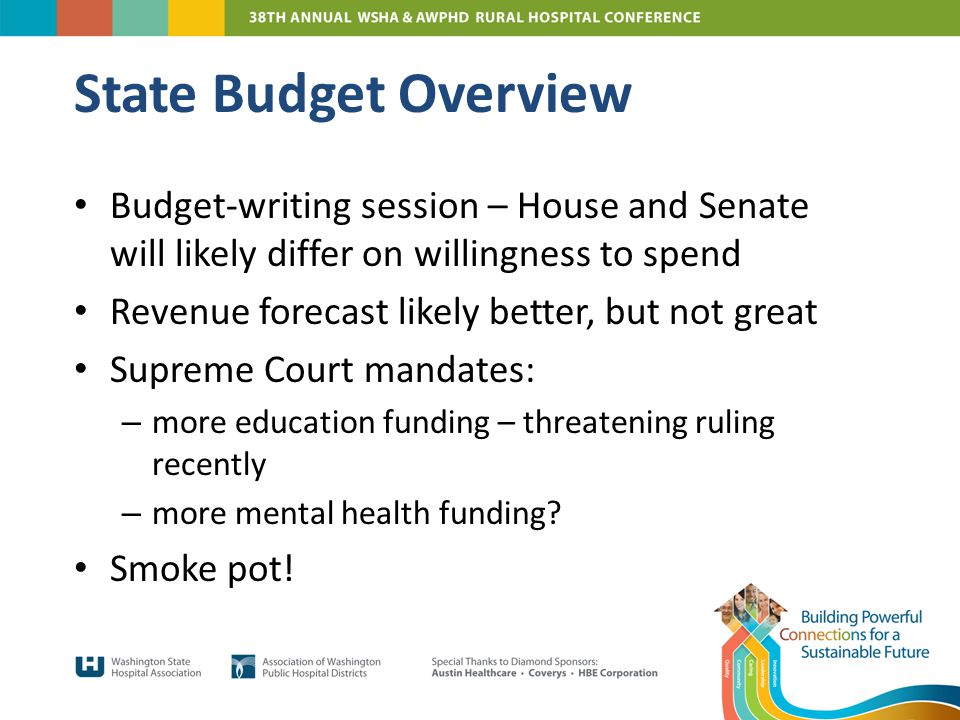 Budget-writing session – House and Senate will likely differ on willingness to spend Revenue forecast likely better, but not great Supreme Court mandates: – more education funding – threatening ruling recently – more mental health funding.