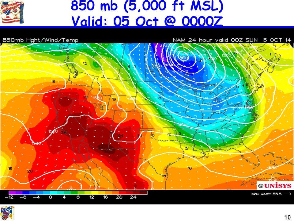 10 850 mb (5,000 ft MSL) Valid: 05 Oct @ 0000Z