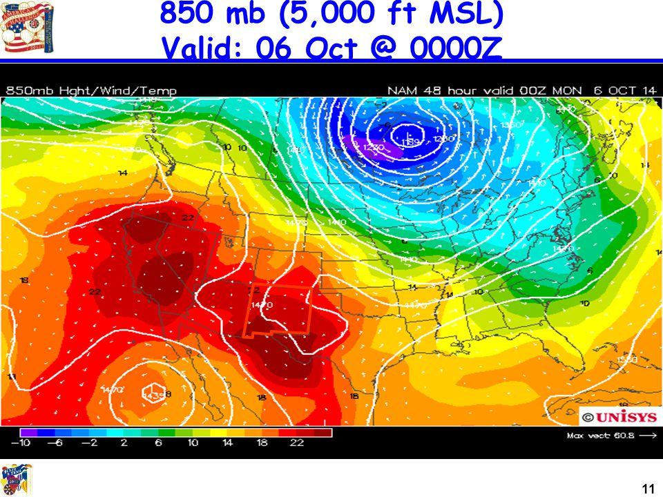 11 850 mb (5,000 ft MSL) Valid: 06 Oct @ 0000Z
