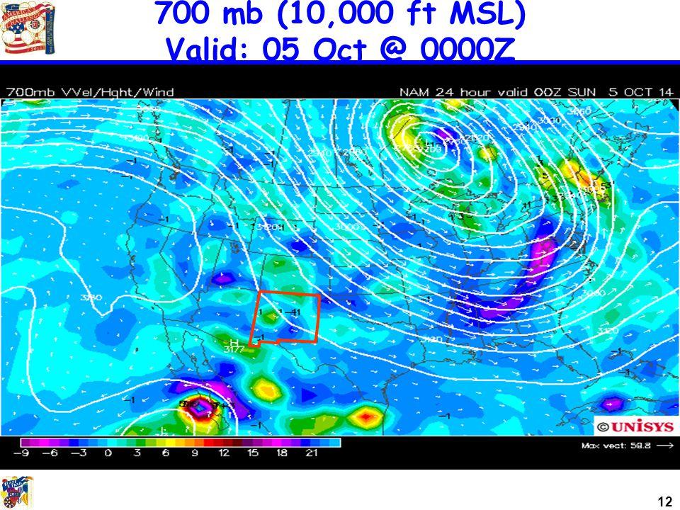 12 700 mb (10,000 ft MSL) Valid: 05 Oct @ 0000Z
