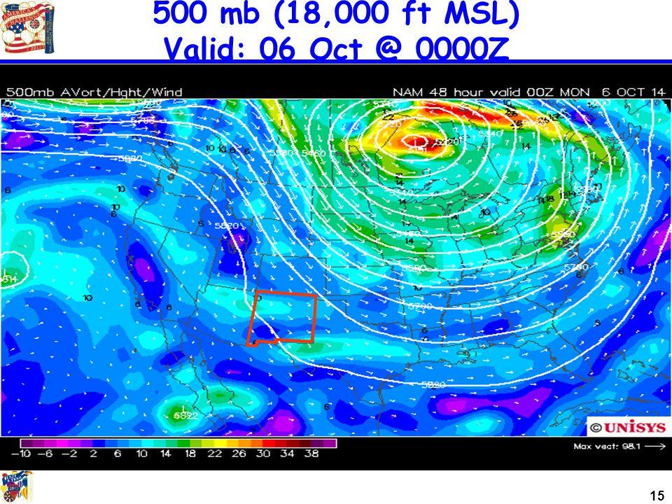 15 500 mb (18,000 ft MSL) Valid: 06 Oct @ 0000Z