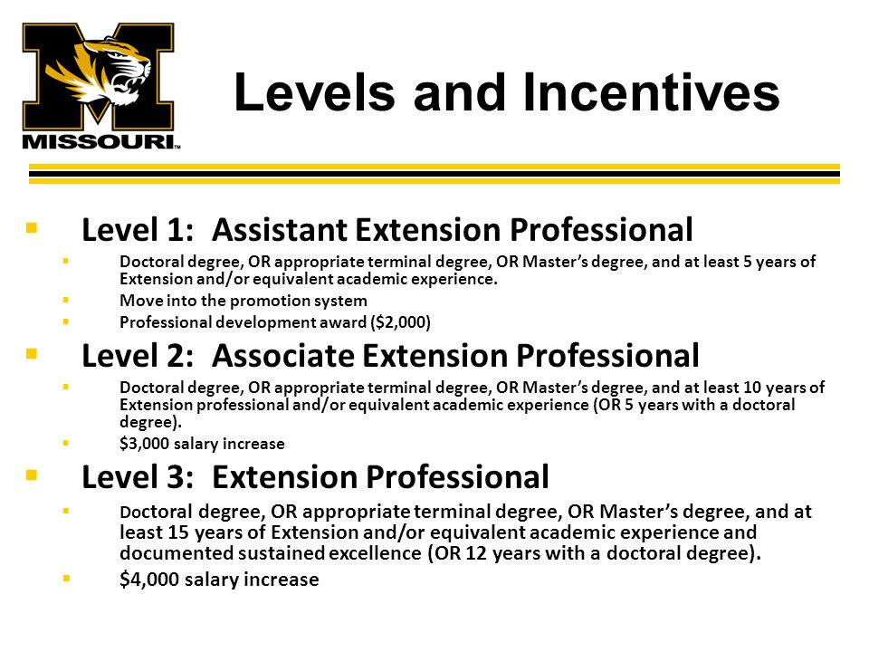 Levels and Incentives  Level 1: Assistant Extension Professional  Doctoral degree, OR appropriate terminal degree, OR Master's degree, and at least 5 years of Extension and/or equivalent academic experience.