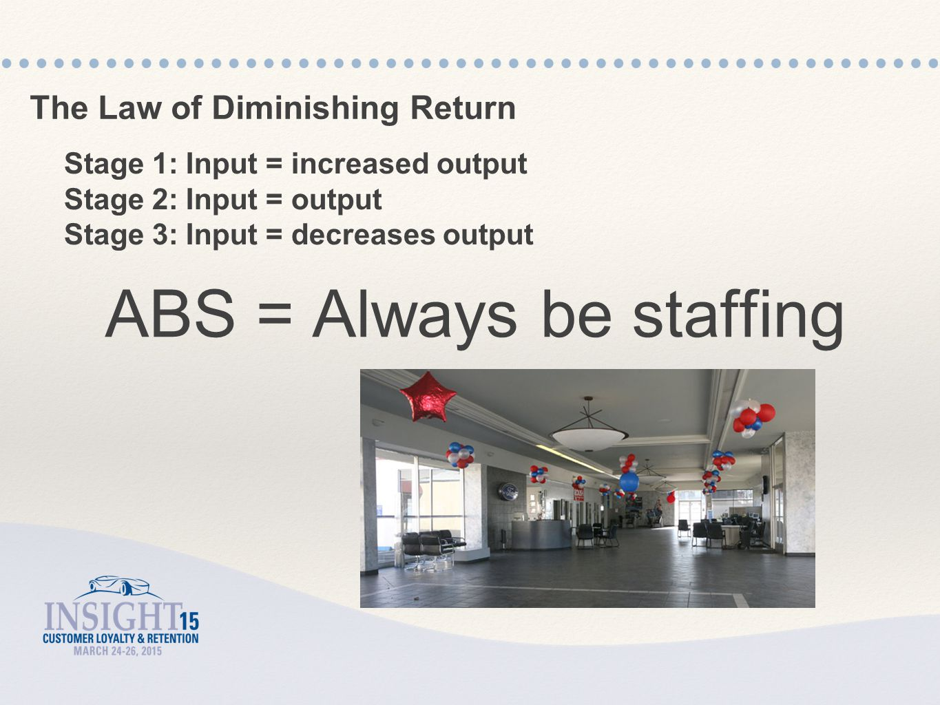 The Law of Diminishing Return Stage 1: Input = increased output Stage 2: Input = output Stage 3: Input = decreases output ABS = Always be staffing