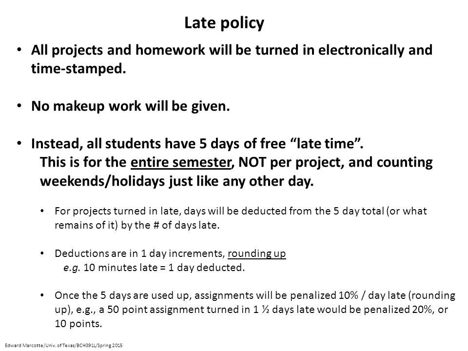 All projects and homework will be turned in electronically and time-stamped. No makeup work will be given. Instead, all students have 5 days of free ""