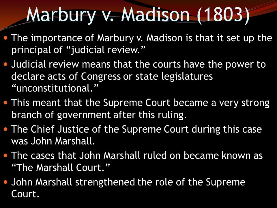 Marbury v. Madison (1803) As the new President, Jefferson refused to deliver the commission (order) which created the new judgeships. This meant that