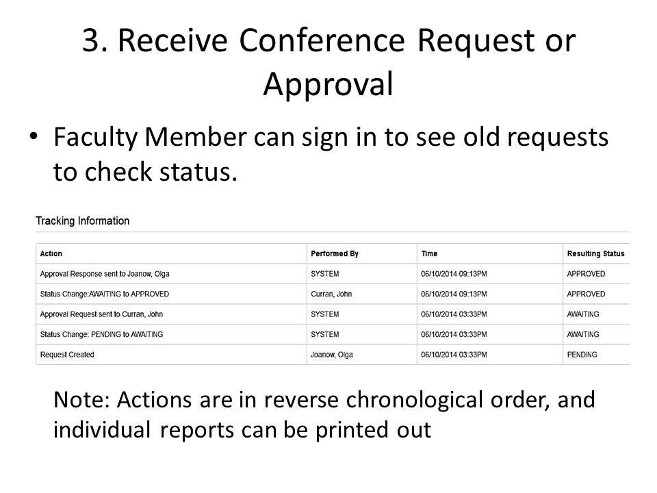 3. Receive Conference Request or Approval Faculty Member can sign in to see old requests to check status. Note: Actions are in reverse chronological o