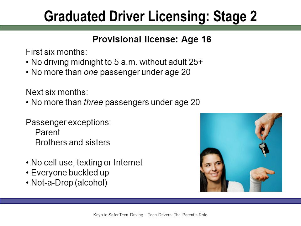 Graduated Driver Licensing: Stage 2 Provisional license: Age 16 First six months: No driving midnight to 5 a.m.