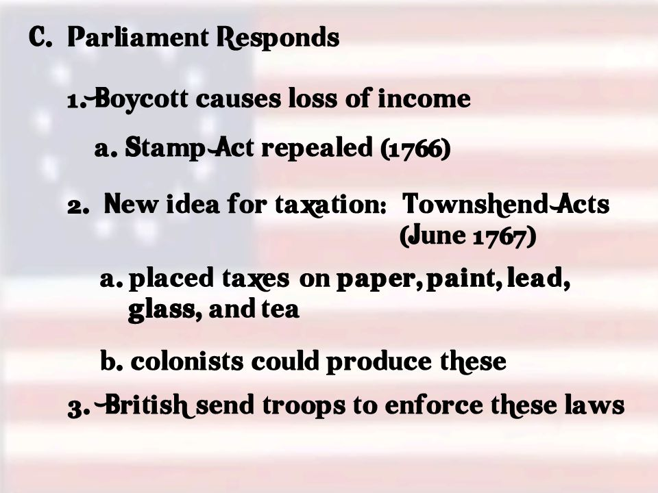 C.Parliament Responds 1. Boycott causes loss of income a.