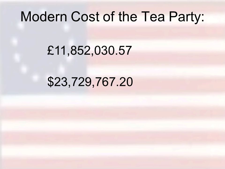 Modern Cost of the Tea Party: £11,852,030.57 $23,729,767.20