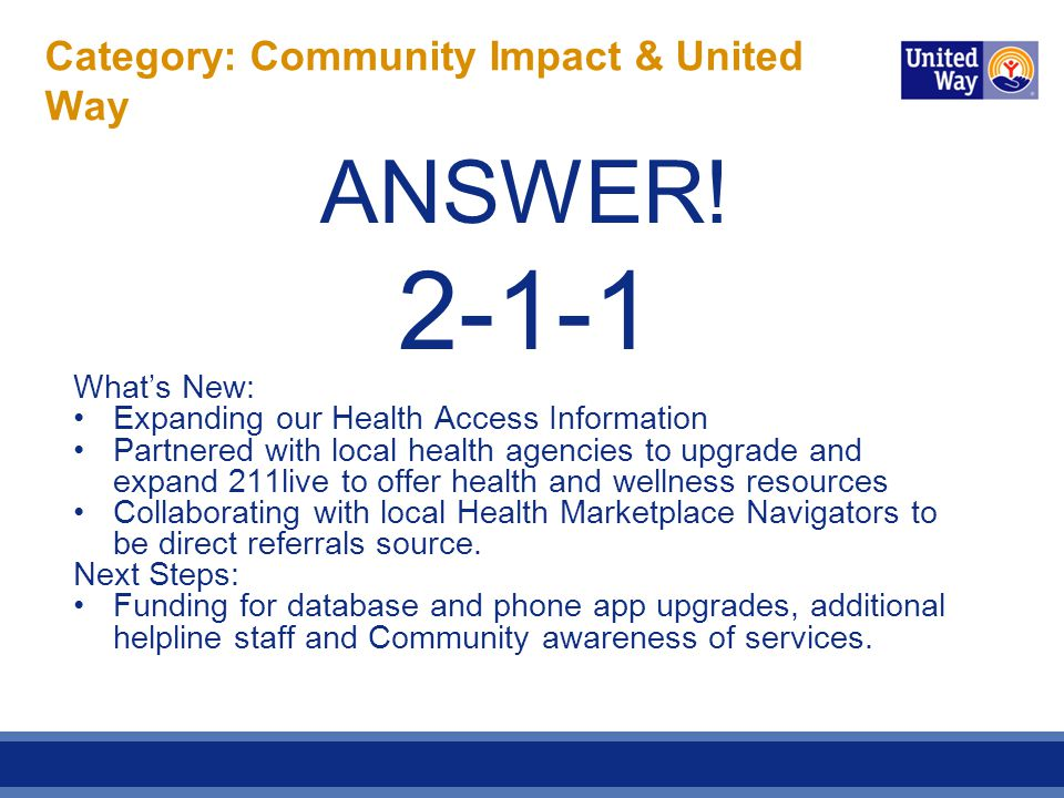 Category: Community Impact & United Way ANSWER! 2-1-1 What's New: Expanding our Health Access Information Partnered with local health agencies to upgr