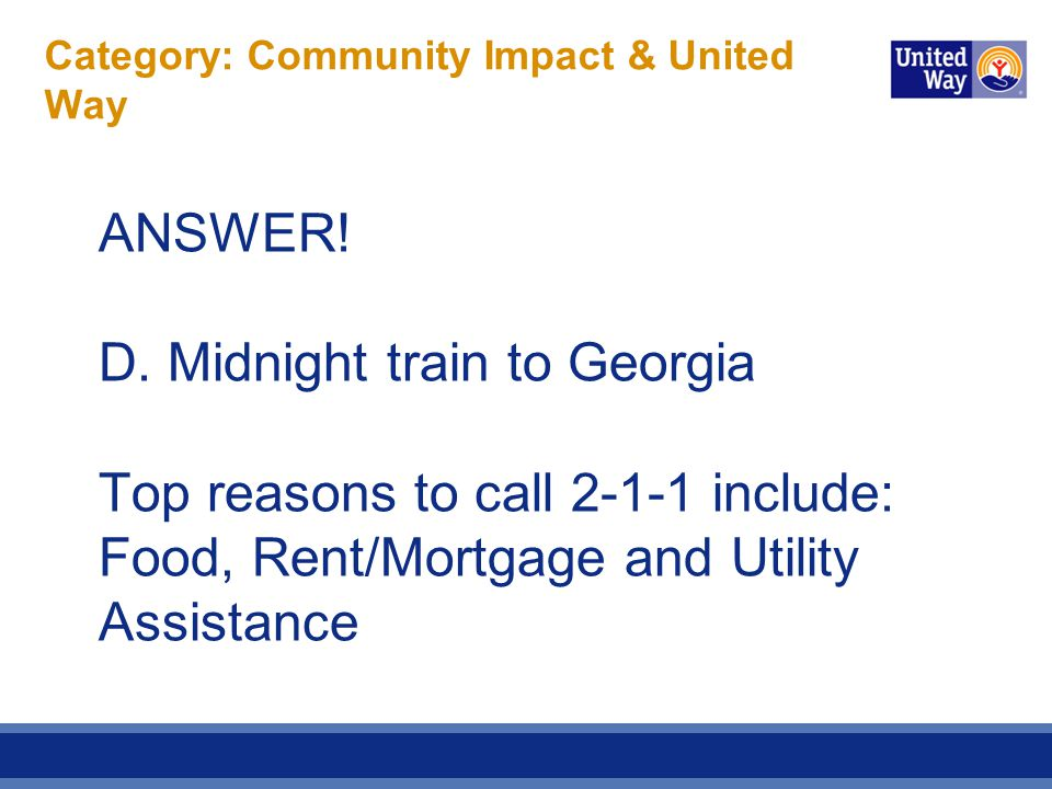 Category: Community Impact & United Way ANSWER.D.