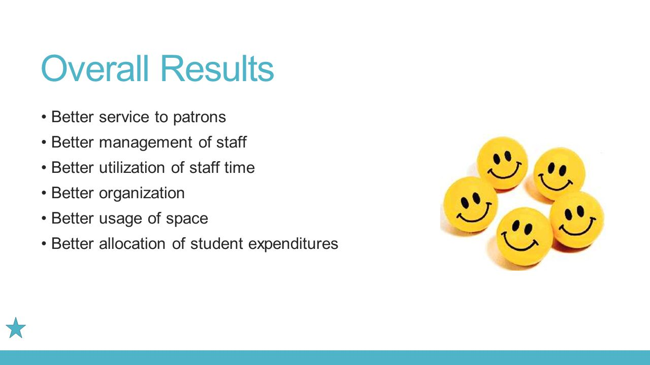 Overall Results Better service to patrons Better management of staff Better utilization of staff time Better organization Better usage of space Better allocation of student expenditures
