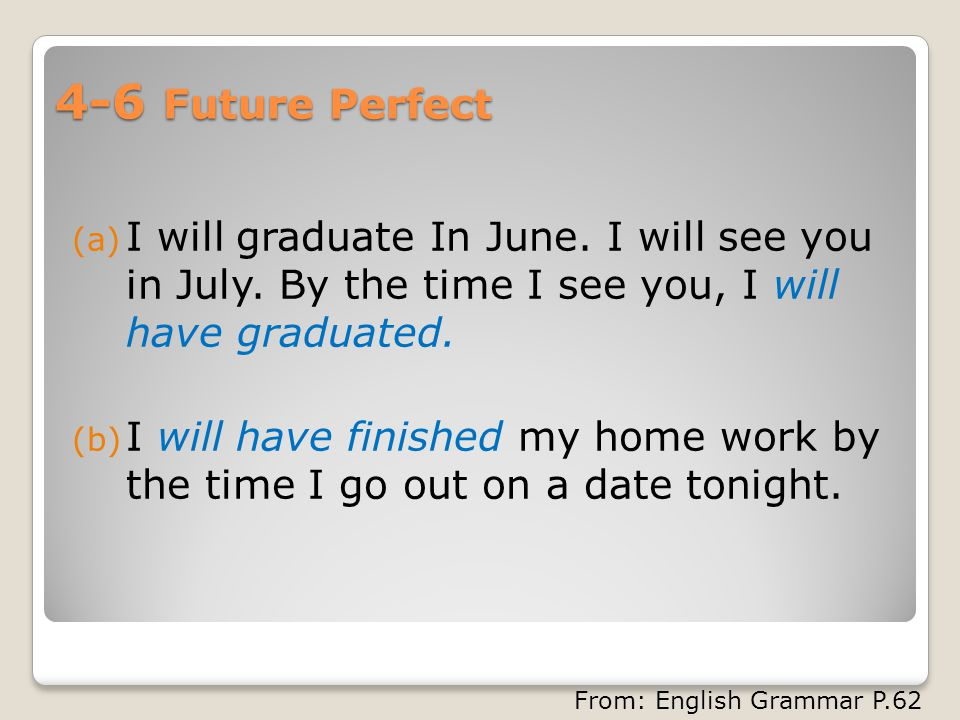 4-6 Future Perfect (a) I will graduate In June. I will see you in July.