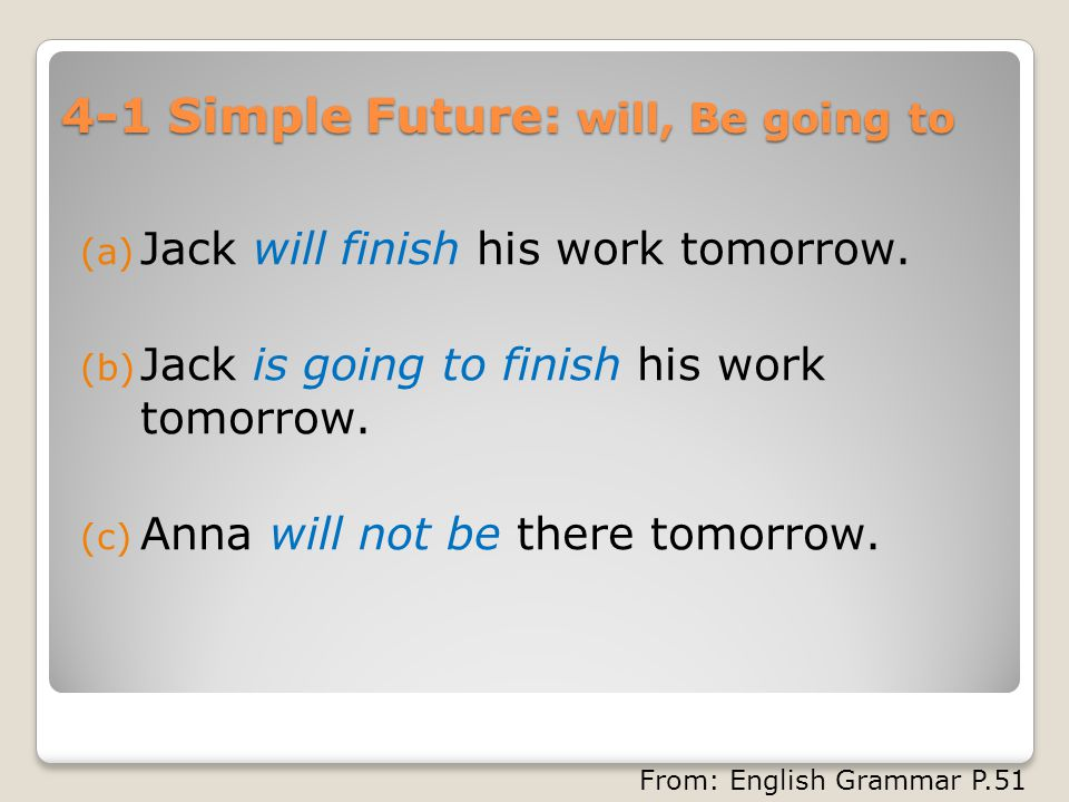 4-1 Simple Future: will, Be going to (a) Jack will finish his work tomorrow.