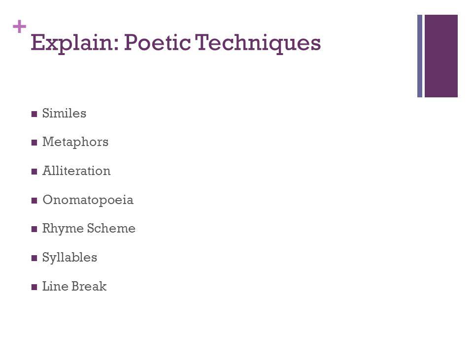 + Explain: Poetic Techniques Similes Metaphors Alliteration Onomatopoeia Rhyme Scheme Syllables Line Break
