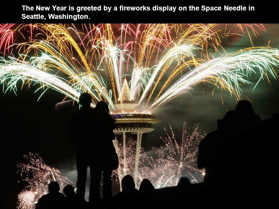 Fireworks burst over the Las Vegas Strip.