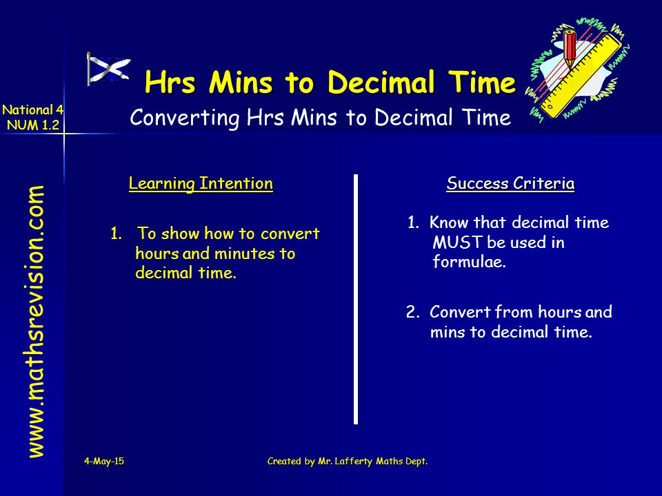 National 4 NUM 1.2 4-May-15Created by Mr. Lafferty Maths Dept. www.mathsrevision.com Learning Intention Success Criteria 1. To show how to convert hou