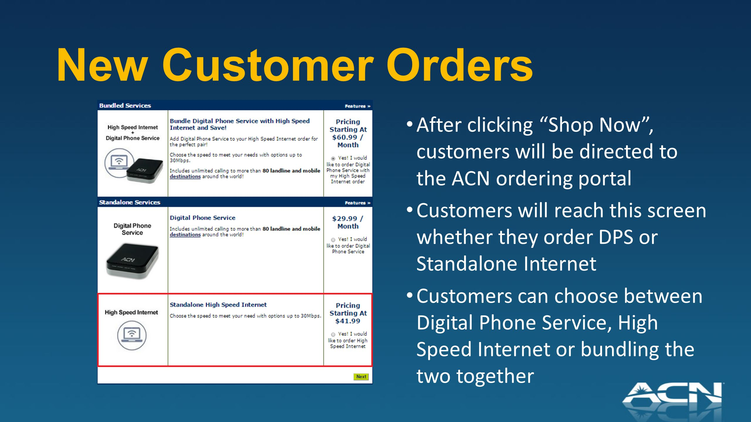New Customer Orders After clicking Shop Now , customers will be directed to the ACN ordering portal Customers will reach this screen whether they order DPS or Standalone Internet Customers can choose between Digital Phone Service, High Speed Internet or bundling the two together