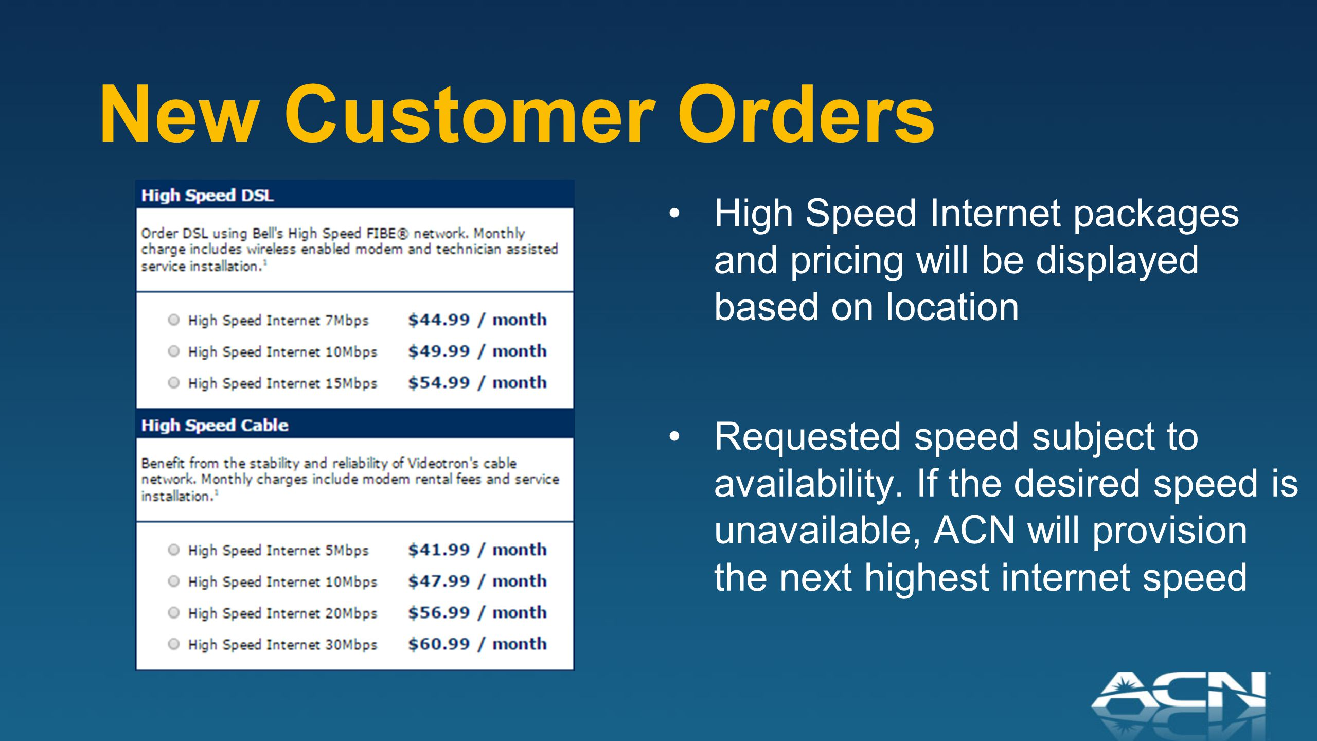 New Customer Orders High Speed Internet packages and pricing will be displayed based on location Requested speed subject to availability.