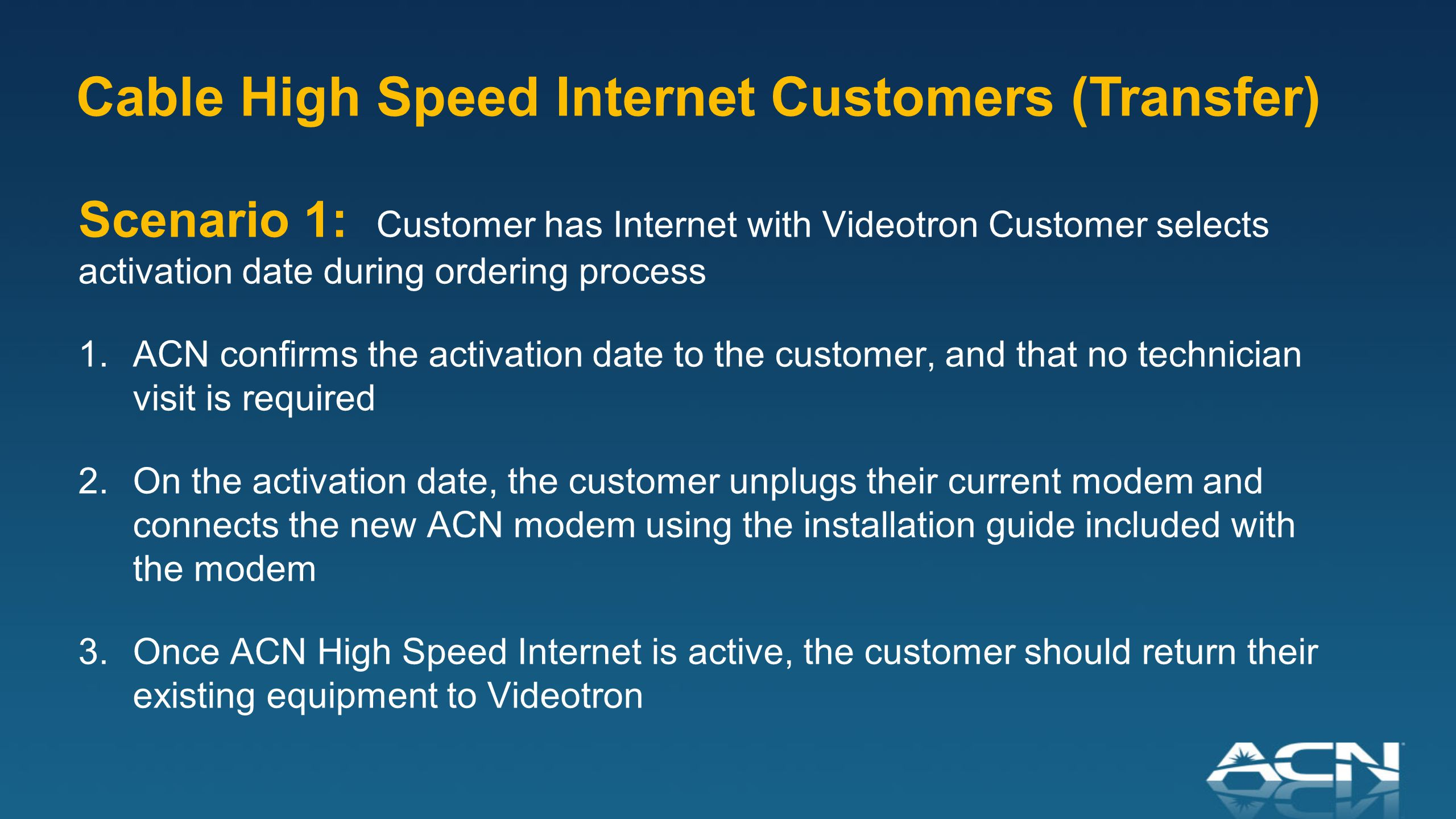 Scenario 1: Customer has Internet with Videotron Customer selects activation date during ordering process 1.ACN confirms the activation date to the customer, and that no technician visit is required 2.On the activation date, the customer unplugs their current modem and connects the new ACN modem using the installation guide included with the modem 3.Once ACN High Speed Internet is active, the customer should return their existing equipment to Videotron Cable High Speed Internet Customers (Transfer)