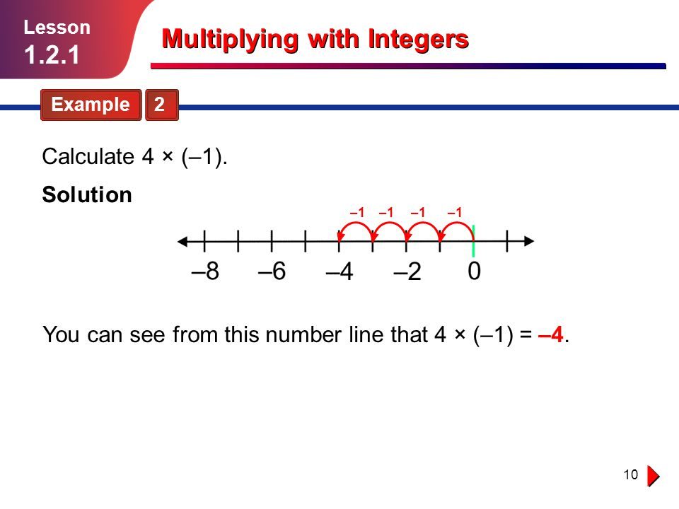 10 Multiplying with Integers Example 2 Lesson 1.2.1 You can see from this number line that 4 × (–1) = –4. Solution –1 Calculate 4 × (–1).