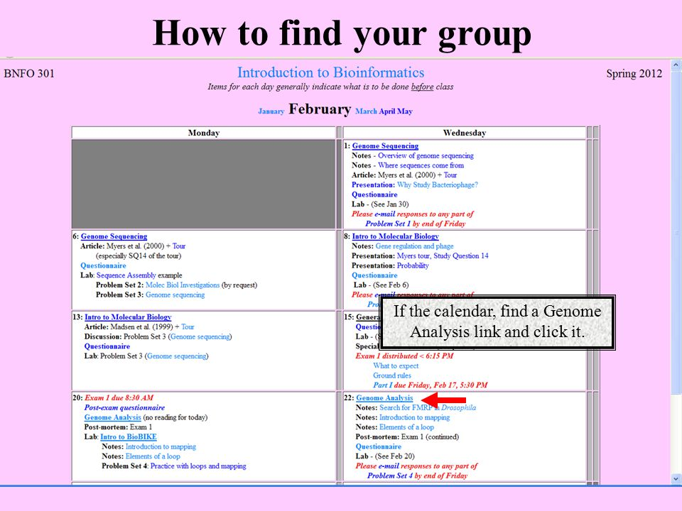If the calendar, find a Genome Analysis link and click it.