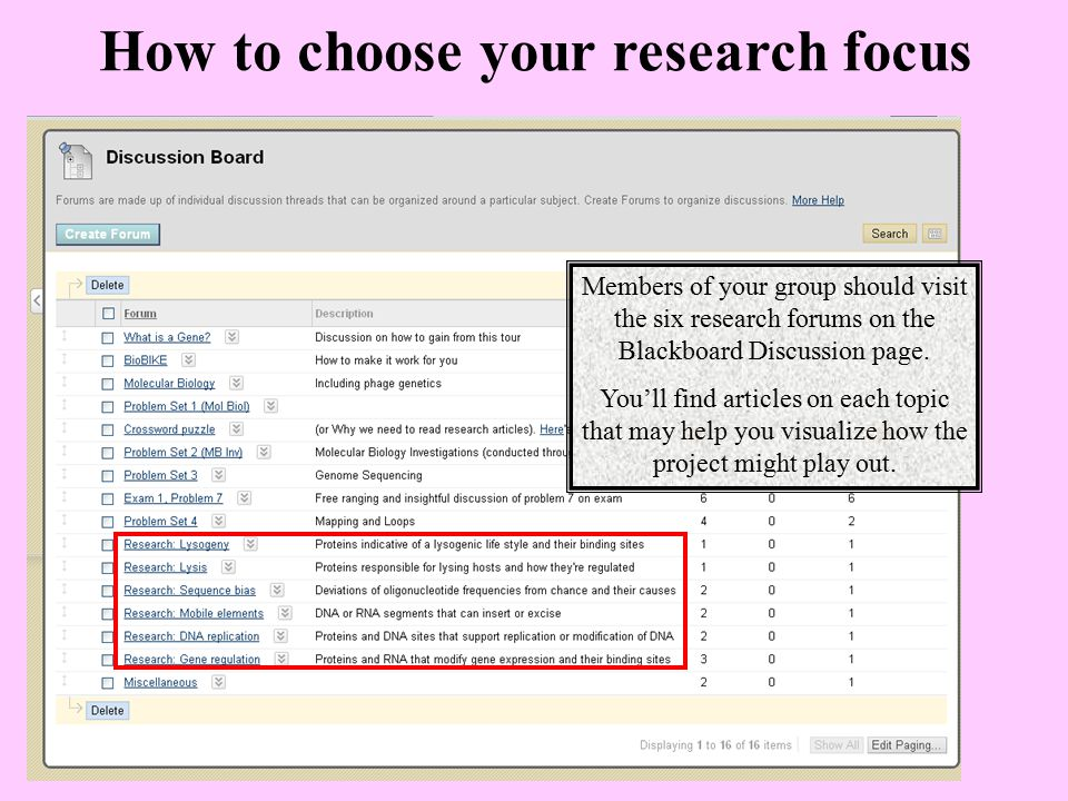 How to choose your research focus Members of your group should visit the six research forums on the Blackboard Discussion page. You'll find articles o